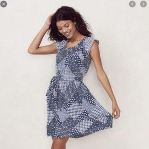 LC Lauren Conrad XS Blue Patchwork Dress